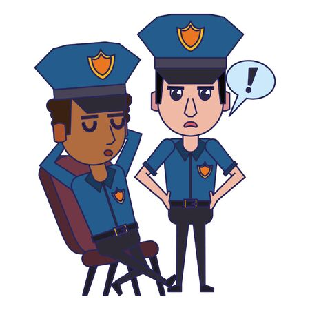 two policemen working afroamerican policeman is sleeping avatar cartoon character vector illustration graphic design