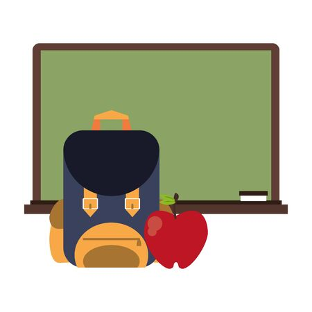 Education and school supplies blackboard and backpack with apple cartoons vector illustration graphic design Illustration