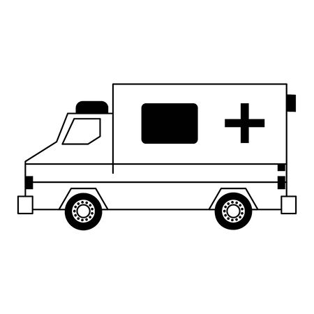 Ambulance emergency vehicle sideview vector illustration graphic design Imagens - 124769796