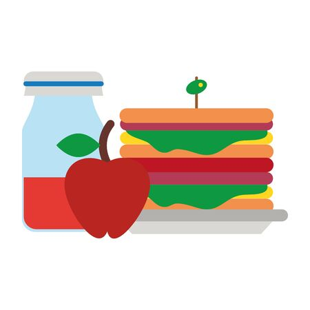 Healthy food cartoons sandwich and apple with juice vector illustration graphic design Ilustrace