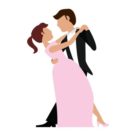 Wedding couple dancing cartoon isolated vector illustration graphic design 일러스트