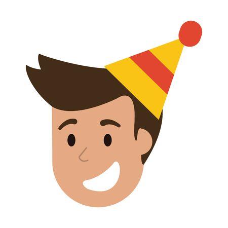 Man smiling with birthday hat cartoon vector illustration graphic design