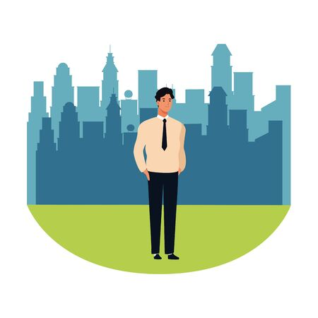 man avatar cartoon character  with business suit in the city park scenery vector illustration graphic design