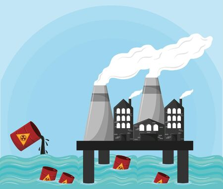 hazardous waste falling over the sea and industrial factories icon cartoon vector illustration graphic design