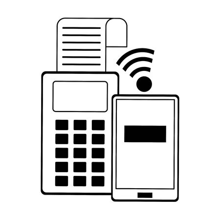 Online shopping and sales card reader and wifi smartphone vector illustration graphic design