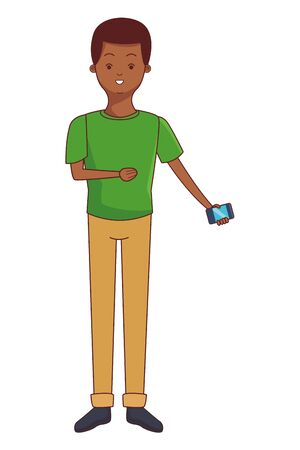 young afro man using smartphone device cartoon vector illustration graphic design