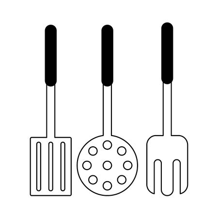 Kitchen utensils and supplies cartoons vector illustration graphic design Ilustração