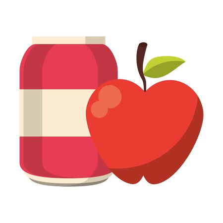 Soda can with apple fruit cartoon vector illustration graphic design