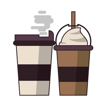 coffee cafe concept coffee shop elements hot drinks cartoon vector illustration graphic design Stock Vector - 124769876