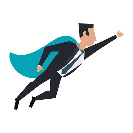 business man with a cape flying avatar cartoon character vector illustration graphic design