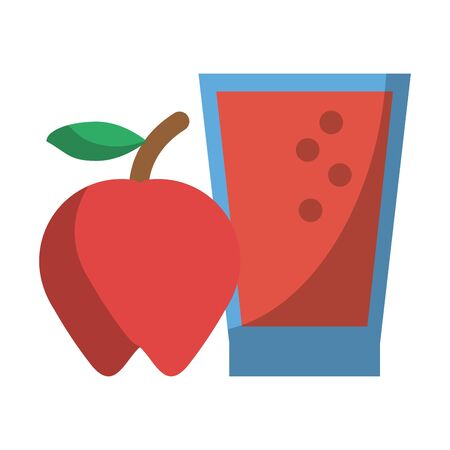 Apple fruit and juice cup vector illustration graphic design