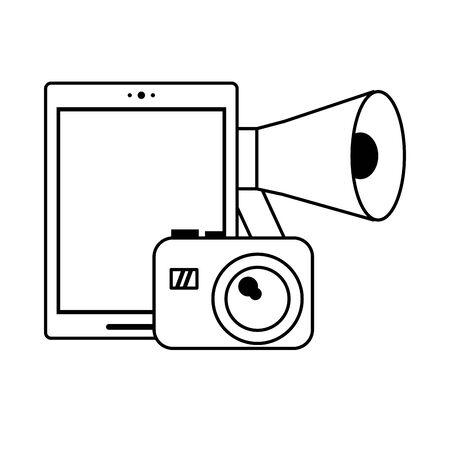 cellphone peripone and camera icon cartoon vector illustration graphic design black and white