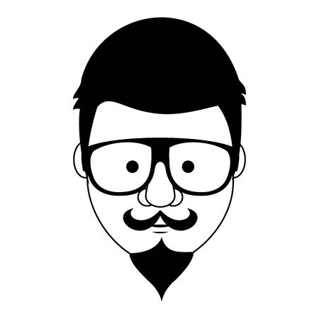 Hipster guy face with fashion glasses and mustache with beard cartoon vector illustration graphic design