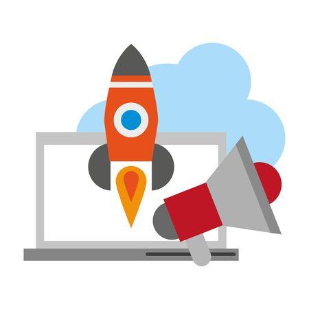 computer with peripone and rocket icon cartoon vector illustration graphic design Stock Illustratie