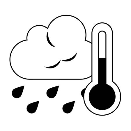 Cloud raining with thermometer weather symbol vector illustration graphic design