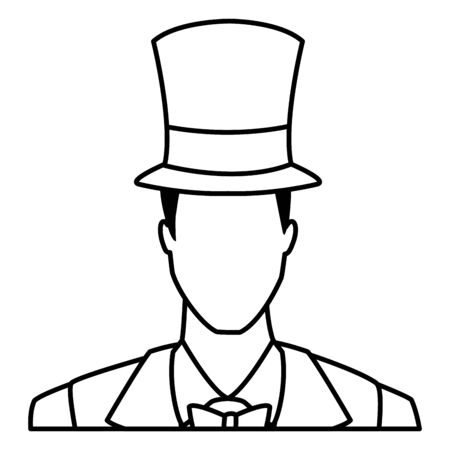 elegant man portrait avatar cartoon character with top hat black and white vector illustration graphic design