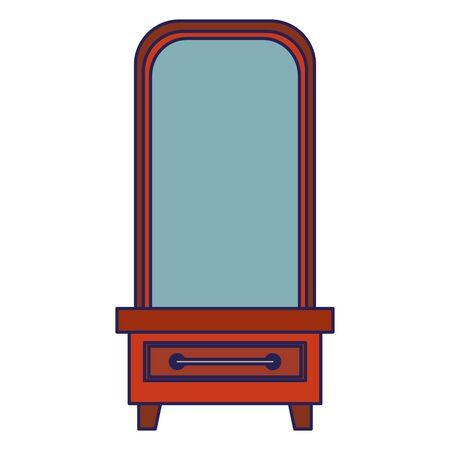 furniture concept mirror cartoon vector illustration graphic design