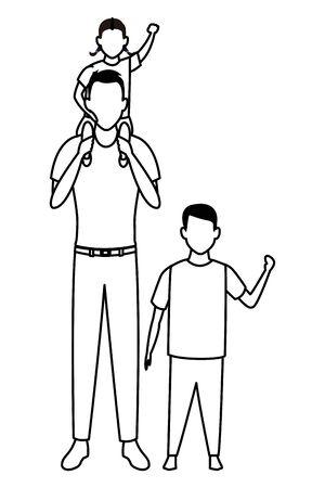 man with children avatar cartoon character  vector illustration graphic design Stock Illustratie
