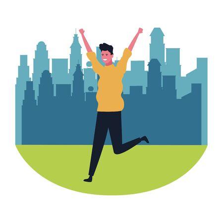 Happy man dancing and smiling cartoon at city park scenery vector illustration graphic design Standard-Bild - 124756482