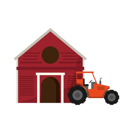 Farm and tractor vehicle isolated vector illustration graphic design
