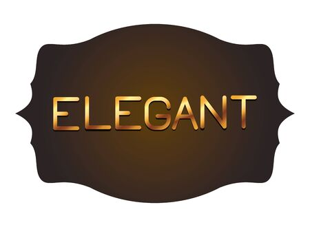 elegant gold letters in vintage frame label isolated vector illustration