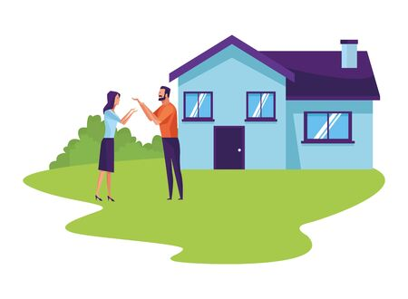 couple and house icon cartoon with rural landscape background vector illustration graphic design