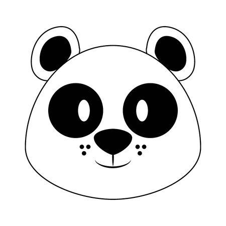 Panda head wildlife cute animal cartoon isolated vector illustration graphic design Ilustracja