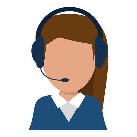 Call center agent operator avatar with headset vector illustration graphic design