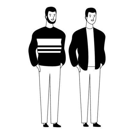 men avatar cartoon character  with fashion casual clothes vector illustration graphic design