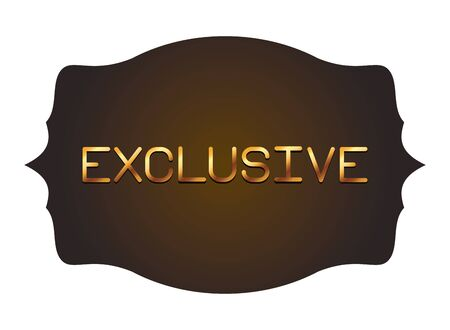 exclusive gold letters in vintage frame label isolated vector illustration Çizim