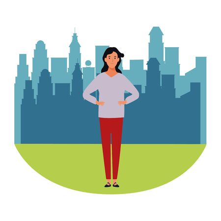 woman avatar cartoon character  in the city park scenery vector illustration graphic design 向量圖像