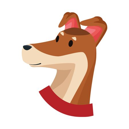 brown dog with red collar icon cartoon isolated vector illustration graphic design