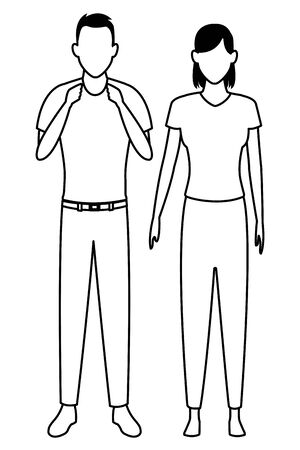 couple avatar cartoon character  vector illustration graphic design