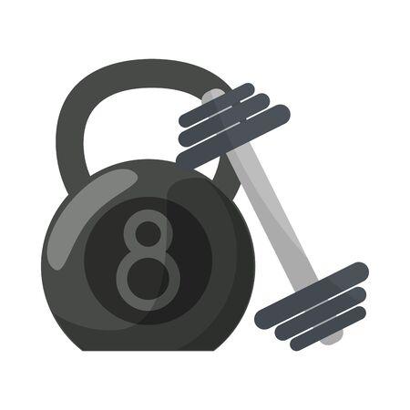 Ketlebell and dumbbell gym equipment for do exercise Stok Fotoğraf - 124773520