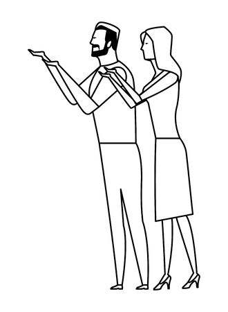 couple speaking through cellphone icon cartoon black and white vector illustration graphic design
