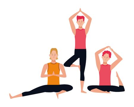 men yoga poses avatar cartoon character vector illustration graphic design Illustration
