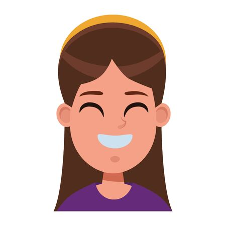 young little kid girl smiling and wearing bandana profile picture avatar cartoon character portrait vector illustration graphic design Çizim