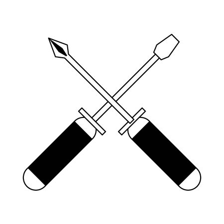 screwdriver tool icon cartoon isolated vector illustration graphic design