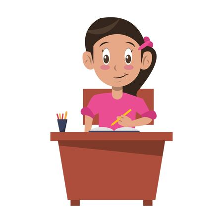 Student girl with books and pencils on desk cartoon vector illustration graphic design 向量圖像