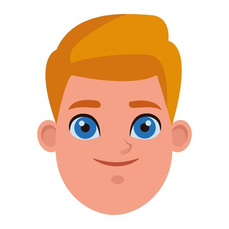 young little kid blond boy with blue eyes profile picture avatar cartoon character portrait vector illustration graphic design