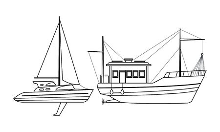Sailboat ship marine travel vehicle machine sea exploration and fishing boat black and white vector illustration graphic design