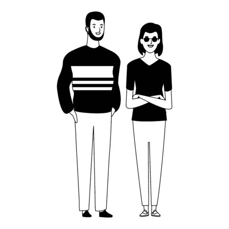 couple avatar cartoon character  with casual fashion clothes vector illustration graphic design