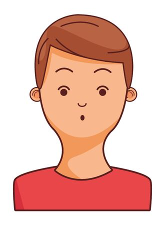 young man face brown hair character cartoon vector illustration graphic design