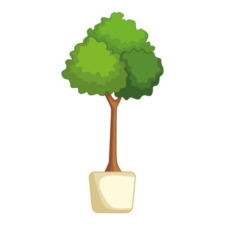 decorative plant on pot icon cartoon vector illustration graphic design