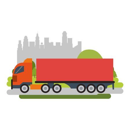 Cargo truck vehicle isolated passing by city vector illustration graphic design Standard-Bild - 124867840
