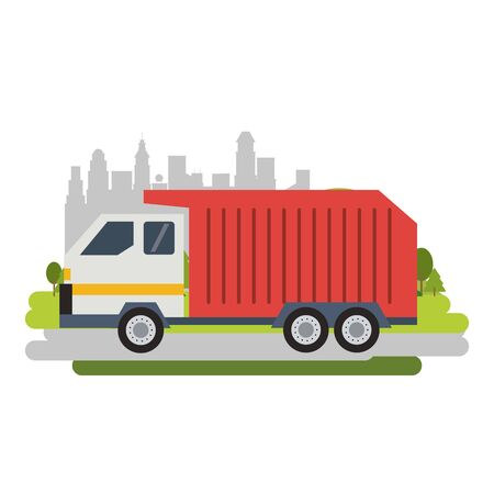 Garbage truck vehicle isolated passing by city vector illustration graphic design Standard-Bild - 124868026