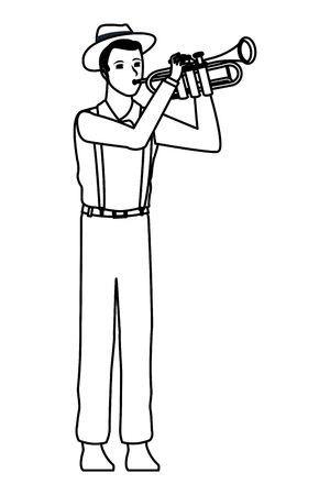 musician playing trumpet avatar cartoon character black and white vector illustration graphic design