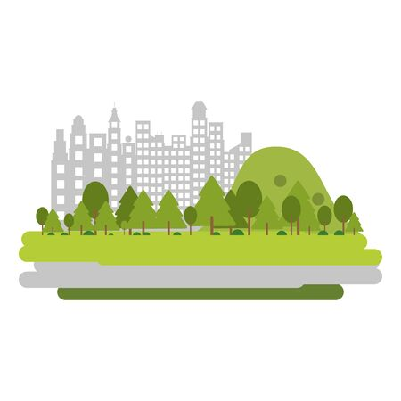 City and park scenery vector illustration graphic design