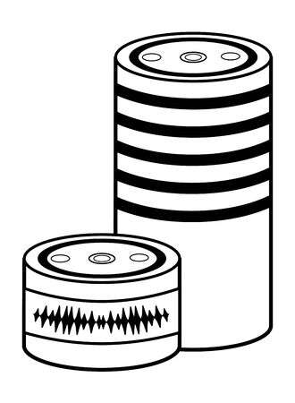cylindrical speakers icon cartoon black and white vector illustration graphic design Illustration