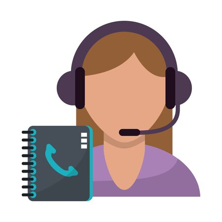 Call center agent with customer service symbols vector illustration graphic design